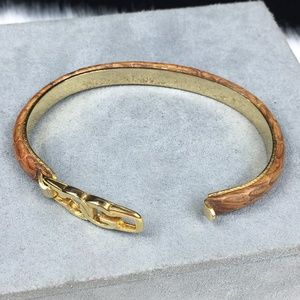 Vintage Jewelry - Vintage Casini & Gori Leather Bangle Bracelet